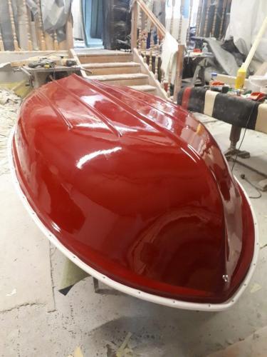 red-7.5ft-dinghy-upside-down